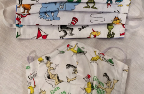 TWO NEW Dr. Seuss 100% cotton adjustable face masks–REDUCED to $5 each