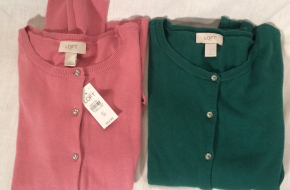 NEW! TWO Ladies' LOFT round-neck, button down cardigan sweaters, size small
