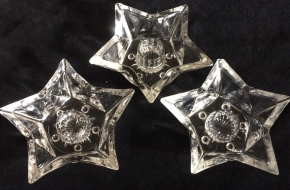 THREE vintage 5-star clear glass candleholders