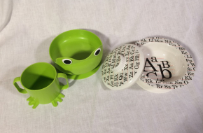 green froggie bowl & cup; ABC covered bowl–$2 each post