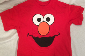 Sesame Street red 100% cotton Elmo face short-sleeved t-shirt, size small