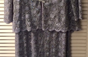 gray/silver sequined lacey long dress w/jacket