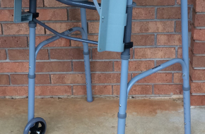 Sturdy Walker/Rollator with sectioned tray, folds for storage